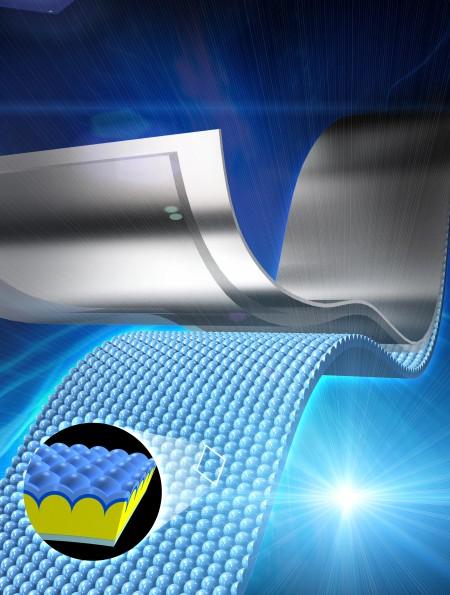 국내 연구진이 휘어지는 투명 전극을 간단히 찍어내는 방식으로 만드는 방법을 개발했다. - 포스텍 제공